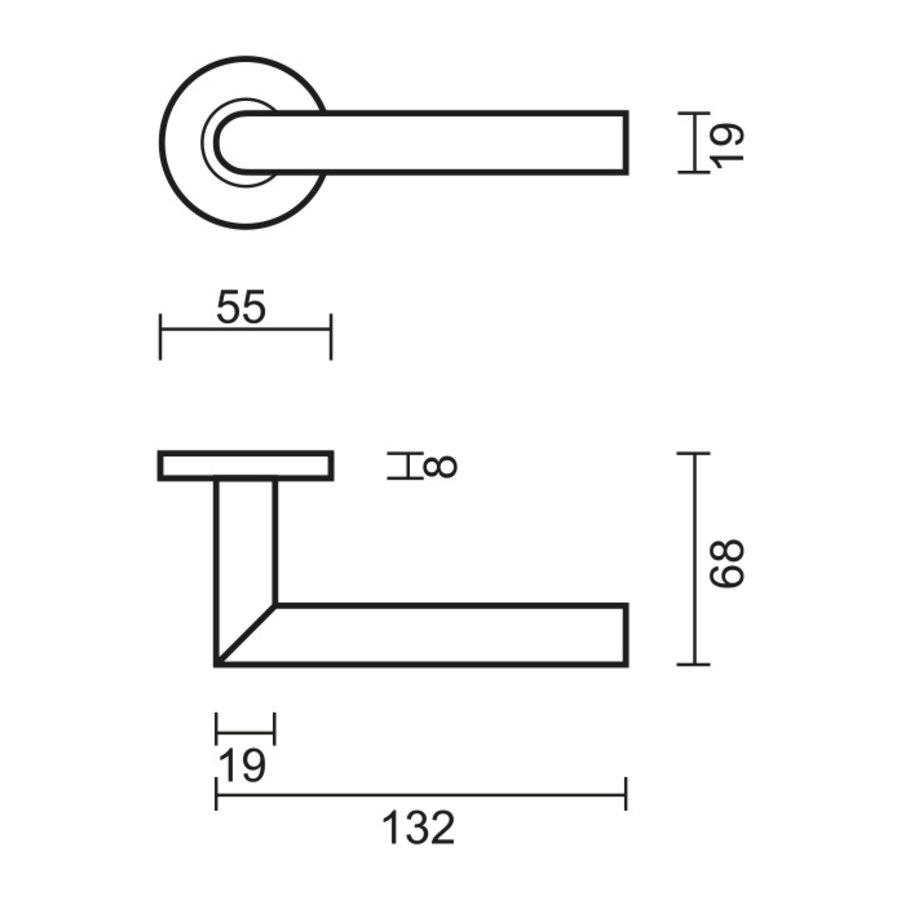 Deurklinken Eco I shape 19 mm zonder sleutelplaatjes