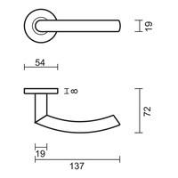 Deurklinken Eco C shape 19 mm met WC garnituur
