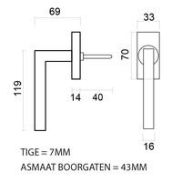 Raamkruk Kubic  shape 16mm mat koper