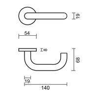 """RVS Deurklinken """"Zero U shape"""" 19 mm zonder sleutelplaatjes"""