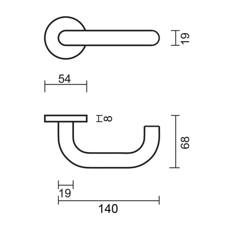 """RVS Deurklinken """"Zero U shape"""" 19 mm met cilinderplaatjes"""