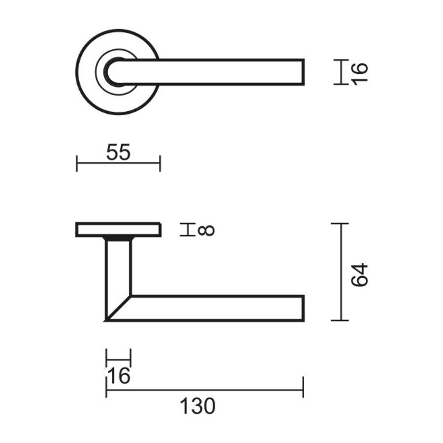 RVS deurklinken Zero I Shape 16 mm met cilinderplaatjes