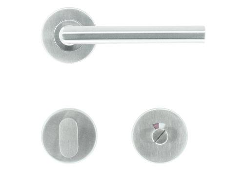 RVS deurklinken Zero I Shape 16 mm met WC garnituur