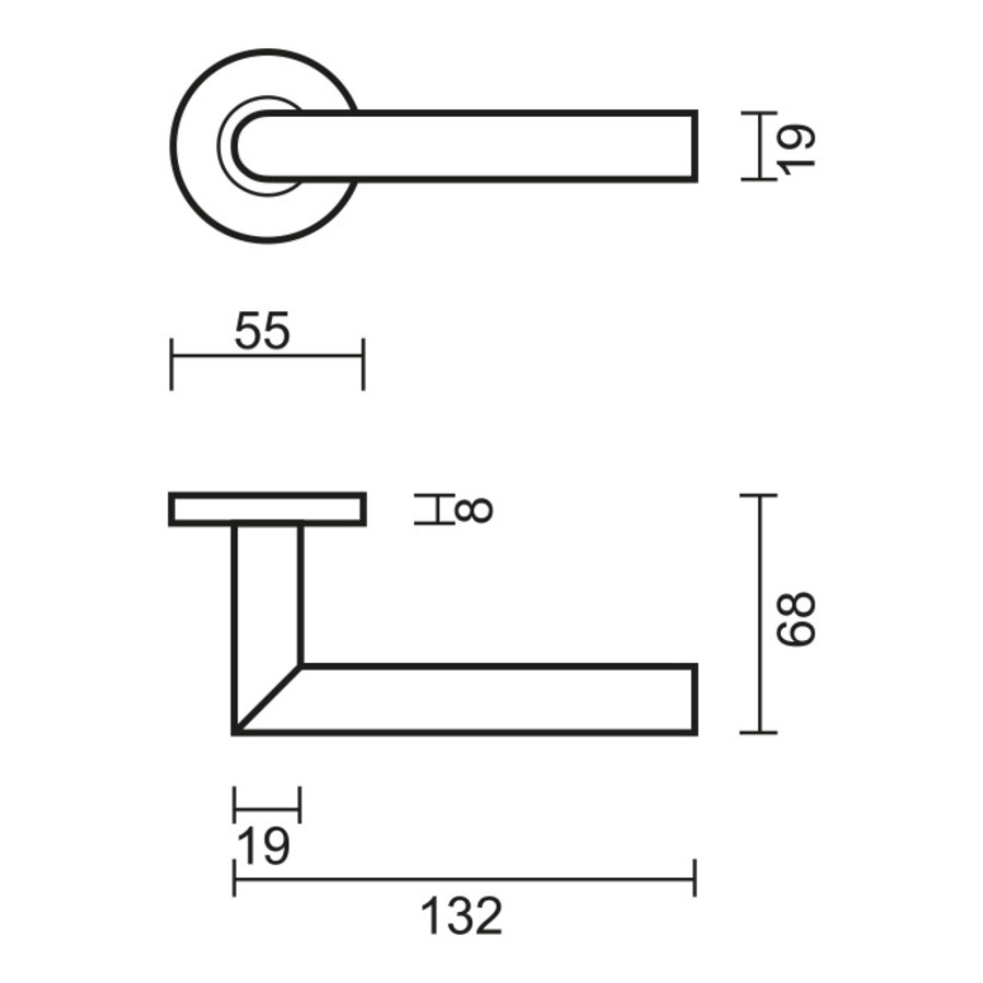 Stainless steel door handles I shape 19mm with key plates