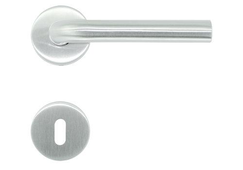 RVS deurklinken L Shape 19 mm met sleutelplaatjes