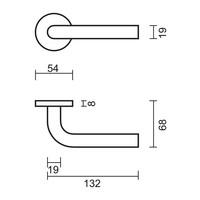 RVS deurklinken L Shape 19 mm met WC garnituur