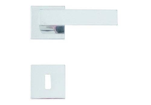 Deurklinken Cubica chrome met sleutelplaatjes