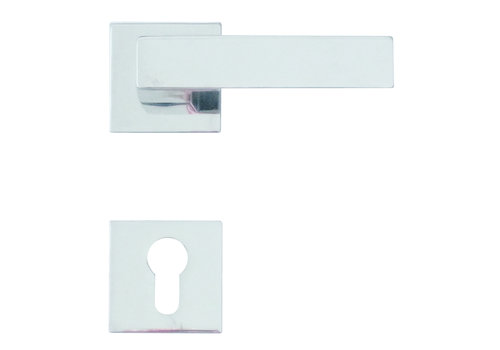 Chrome door handles Cubica with cylinder plates