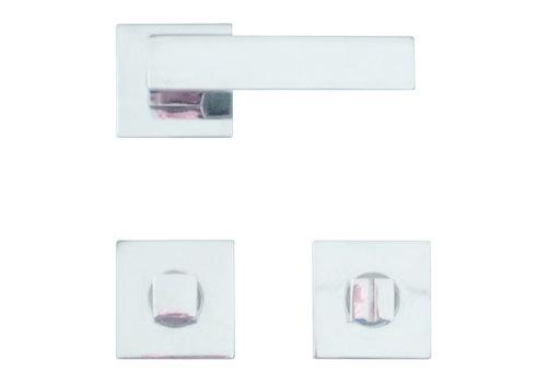 Deurklinken Cubica chrome met WC garnituur