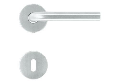 Poignées de porte en acier inoxydable forme L 16 mm avec plaques porte-clés