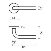 RVS deurklinken L shape 16 mm met sleutelplaatjes