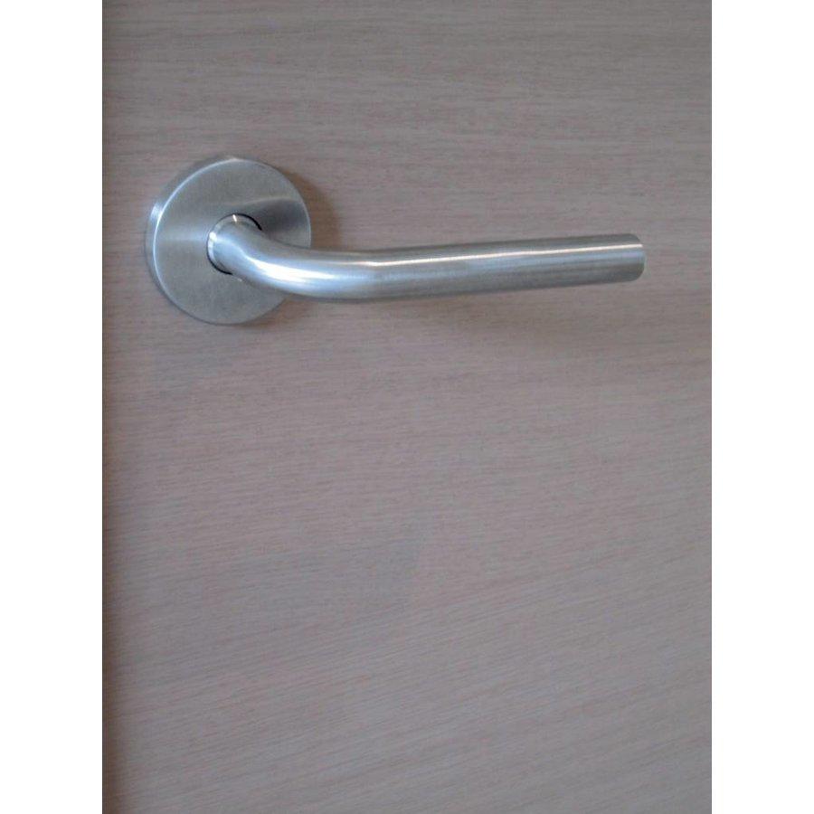 RVS deurklinken L shape 16 mm met cilinderplaatjes