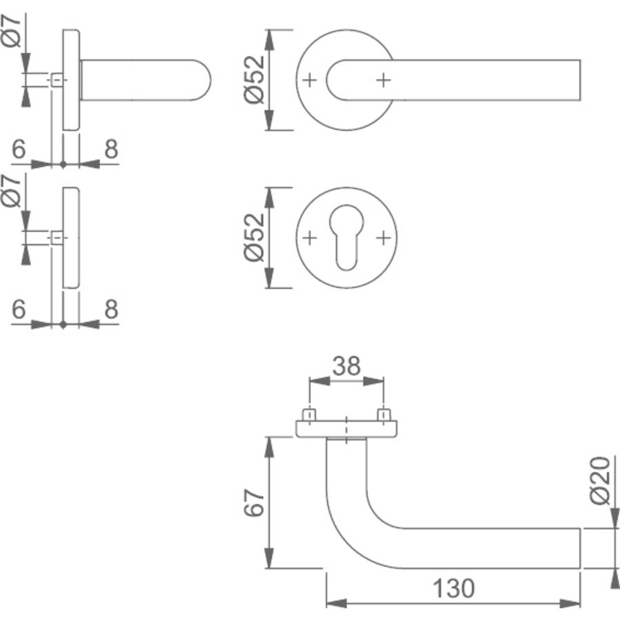 HOPPE Bonn Binnendeurbeslag E150Z/42KV/42KVS CYL RVS DD:37-42mm