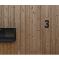 Mat zwart RVS huisnummer 7 met een hoogte van 300mm