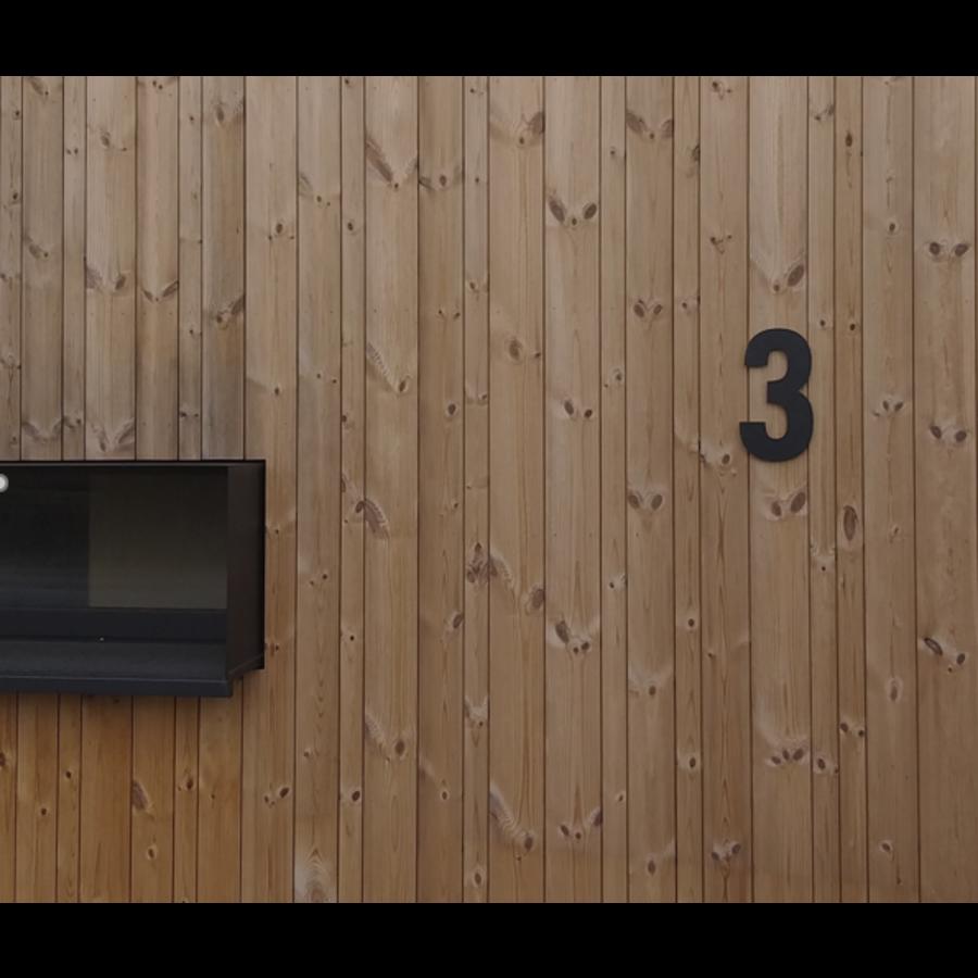 Mat zwart RVS huisnummer 3 met een hoogte van 300mm