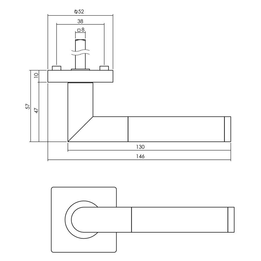 Intersteel Deurkruk Bastian op vierkant rozet 55x55x10 mm zwart