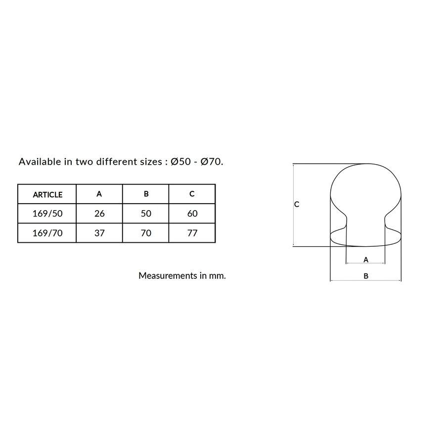 Ronde voordeurknop  Ø50mm met éénzijdige montage aluminium zwart