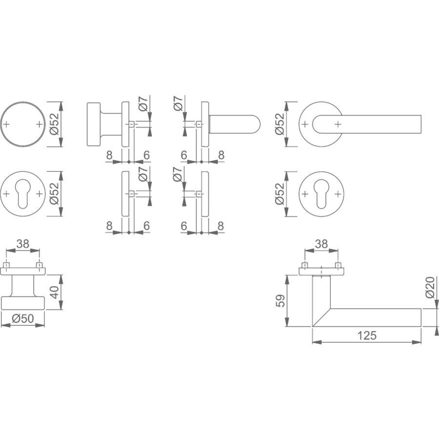 Hoppe RVS deurkruk Amsterdam met vaste top - dd 37-42mm