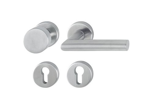Hoppe stainless steel door handle Amsterdam with fixed top - dd 57-62mm