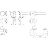 Hoppe RVS deurkruk Paris met vaste top - dd 57-62mm