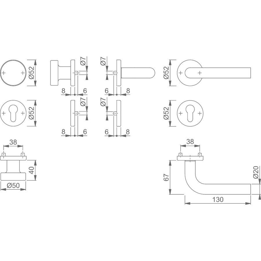 Hoppe RVS deurkruk Bonn met vaste top - dd 57-62mm