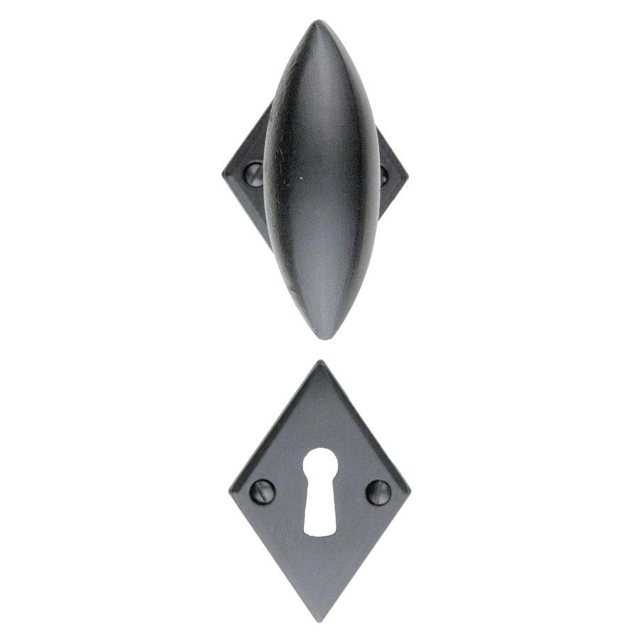 Zwarte deurkruk Olina ruit gietijzer-look met sleutelplaatjes