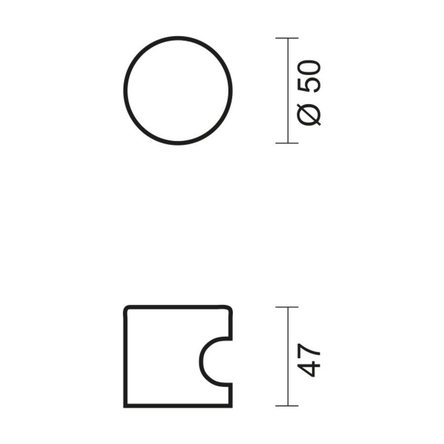Vaste RVS deurknop H50