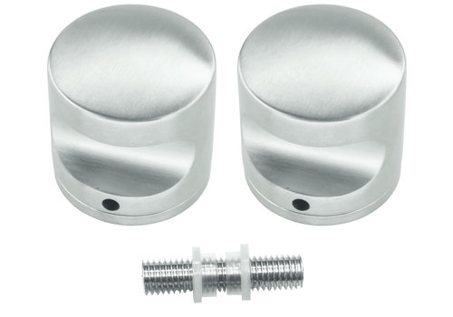 Fixed stainless steel doorknob H50 pair for glass