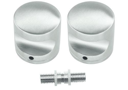 Vaste RVS deurknop H50 paar voor glas