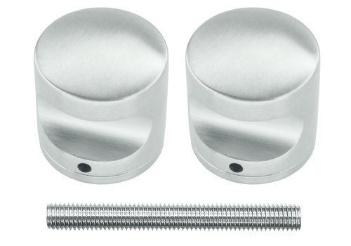 Fixed stainless steel doorknob H50 pair for wood
