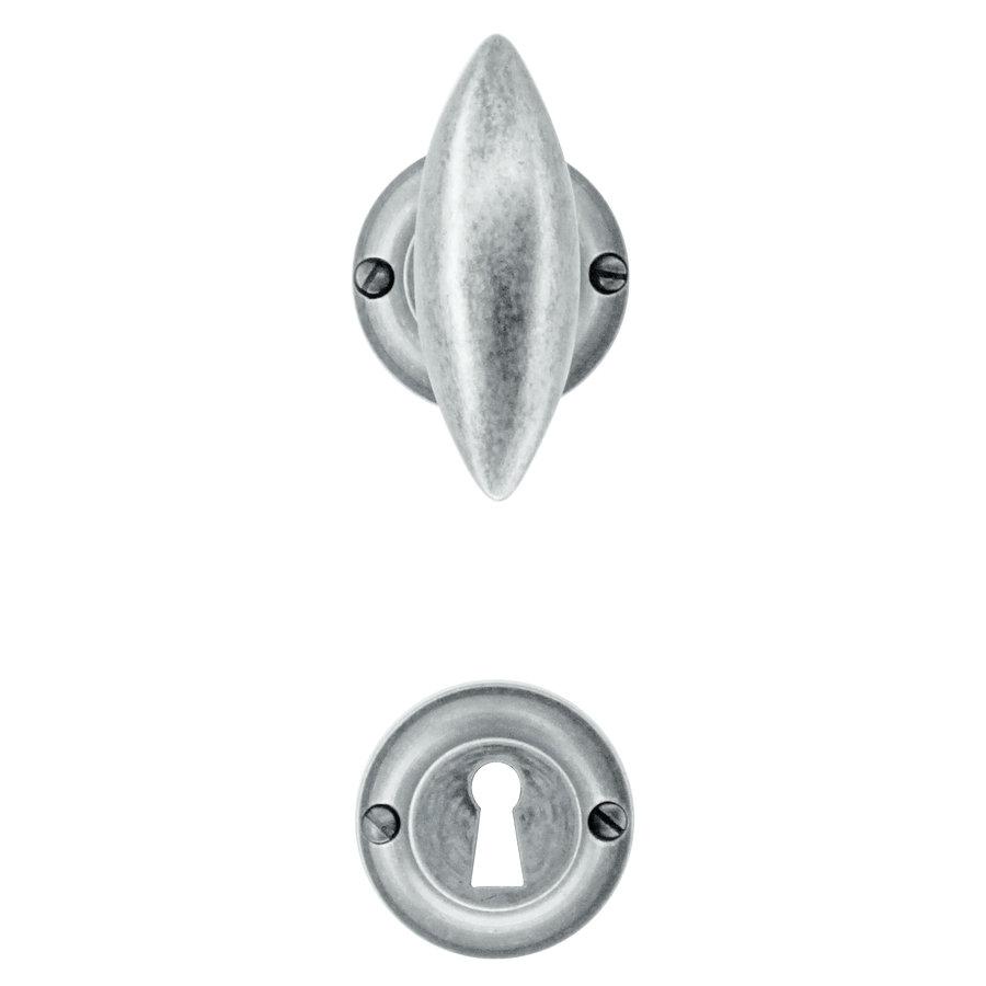 Oud zilveren deurklinken Olina met sleutelplaatjes