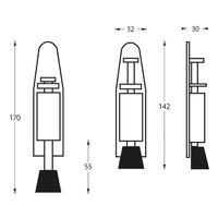 Intersteel Deurvastzetter klein 142x32 mm RVS geborsteld