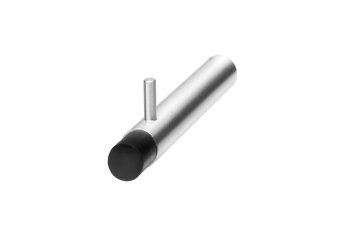 Towel / clothing support with brushed stainless steel door stop