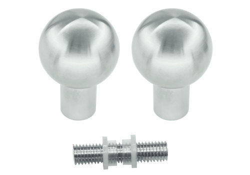Vaste deurknop B40 RVS plus paar voor glas