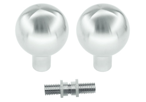 Fixed doorknobs B50 stainless steel pair for glass