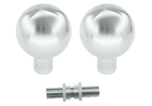 Vaste deurknoppen B50 RVS paar voor glas
