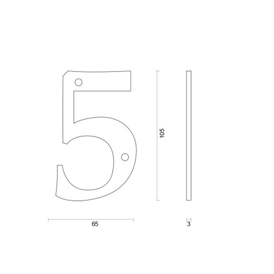 Huisnummer 5 roest 106mm