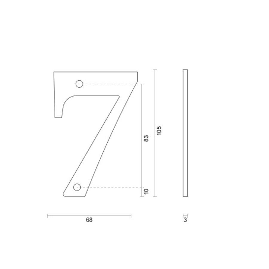 Huisnummer 7 roest 106mm