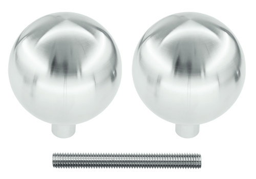 Fixed doorknobs B60 stainless steel pair for wood