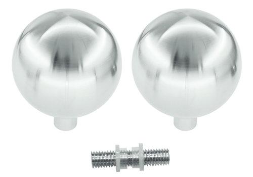 Vaste deurknoppen B80 massief RVS paar voor glas