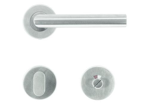 """RVS deurkrukken """"Flat"""" I-Shape met WC garnituur"""