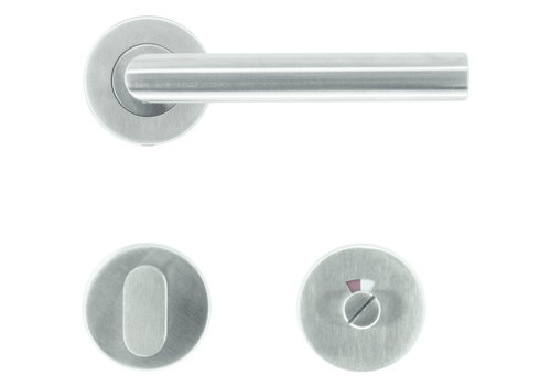 """RVS deurkrukken """"Flat"""" I-Shape met WC"""