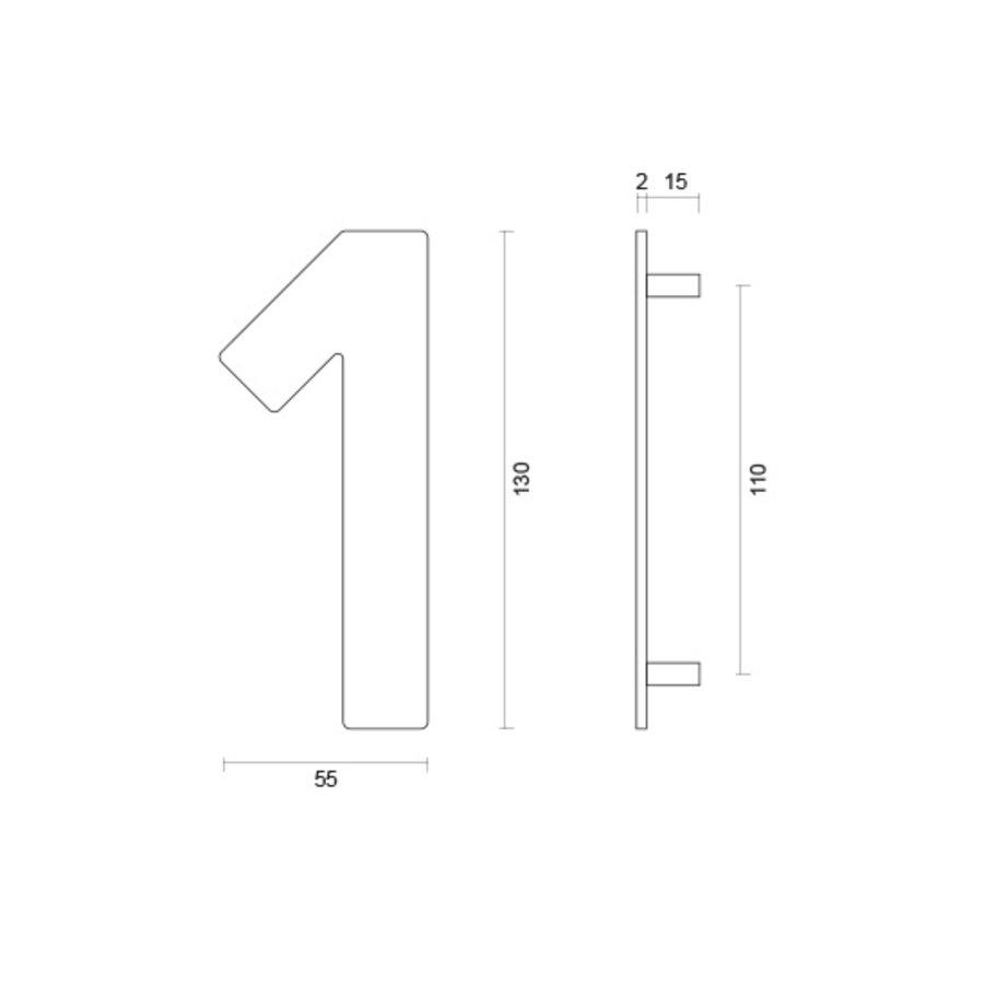 Huisnummer 1 rvs plat 130mm