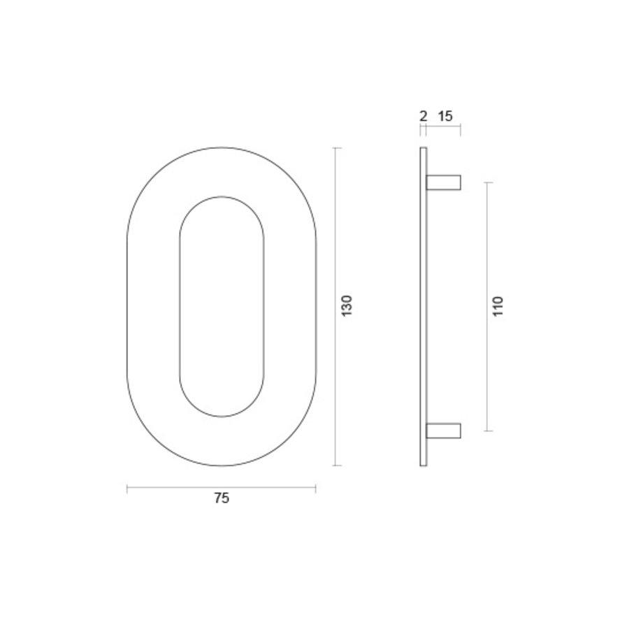 Huisnummer 0 rvs  plat 130mm