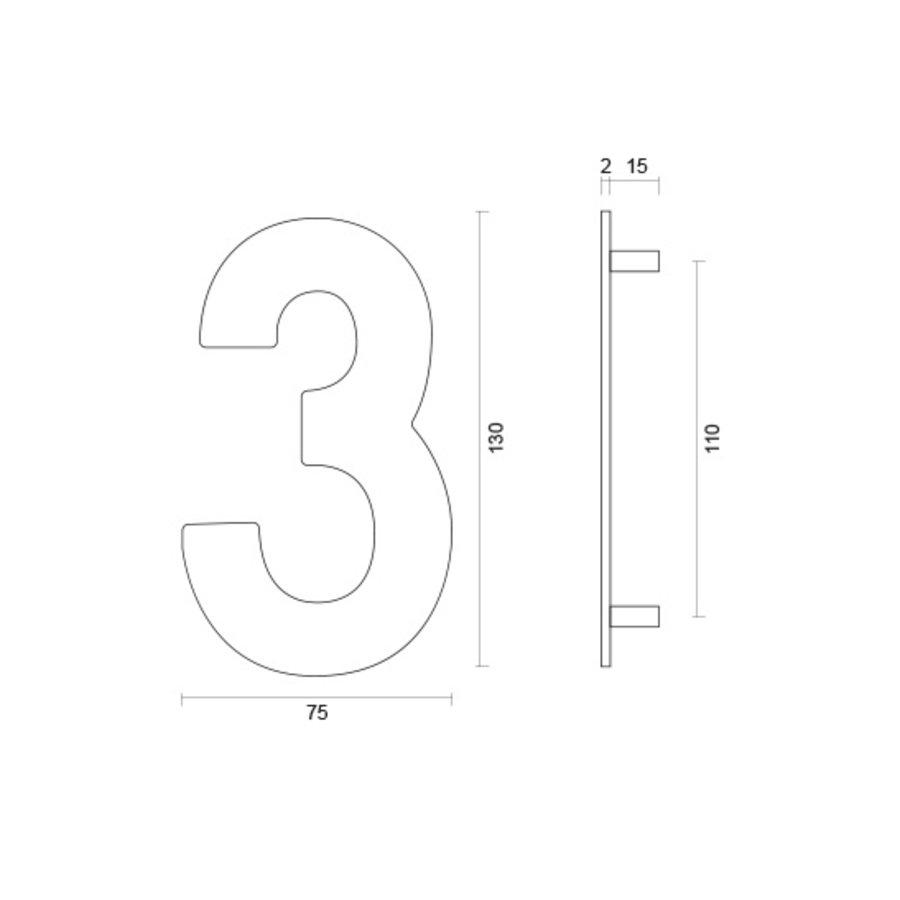Huisnummer 3 rvs plat 130mm