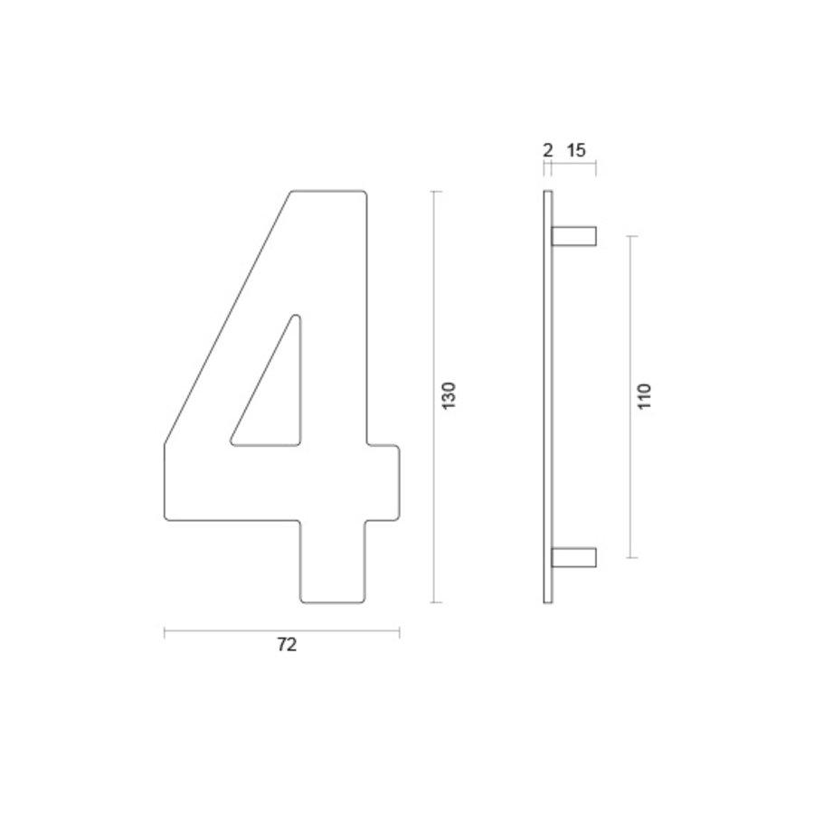 RVS huisnummer 4 met een hoogte van 130mm