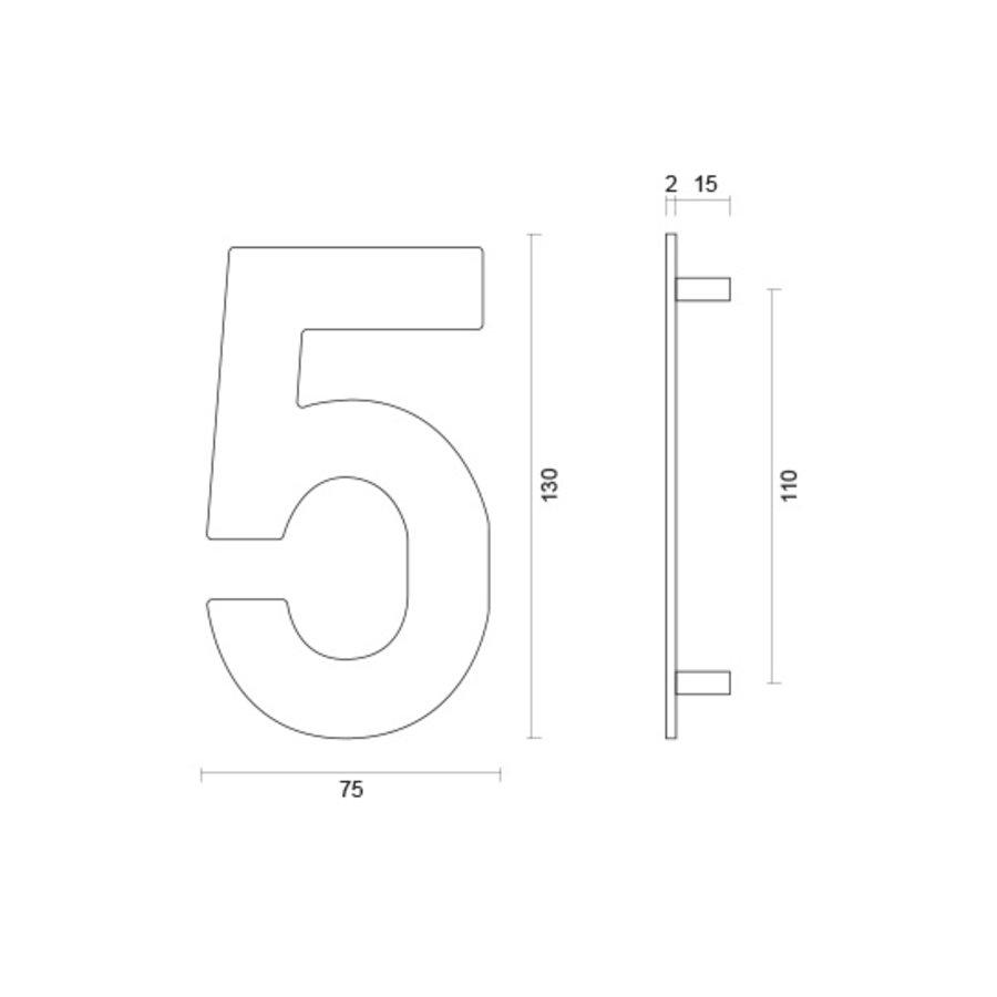 Huisnummer 5 rvs plat 130mm