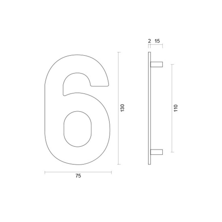 Huisnummer 6 rvs plat 130mm