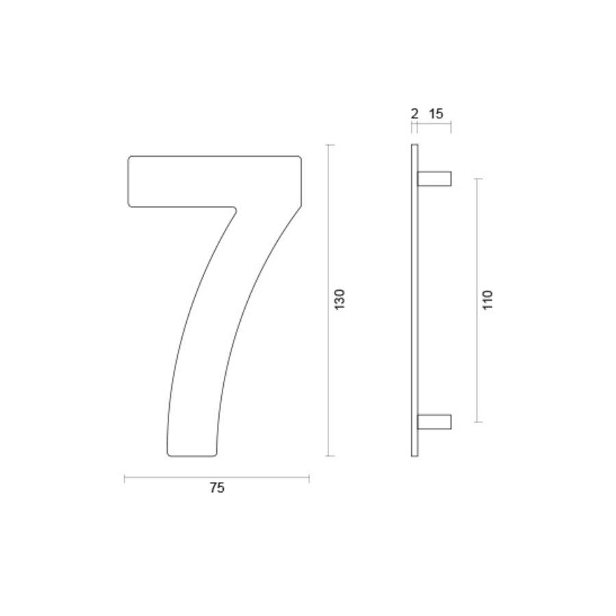 RVS huisnummer 7 met een hoogte van 130mm