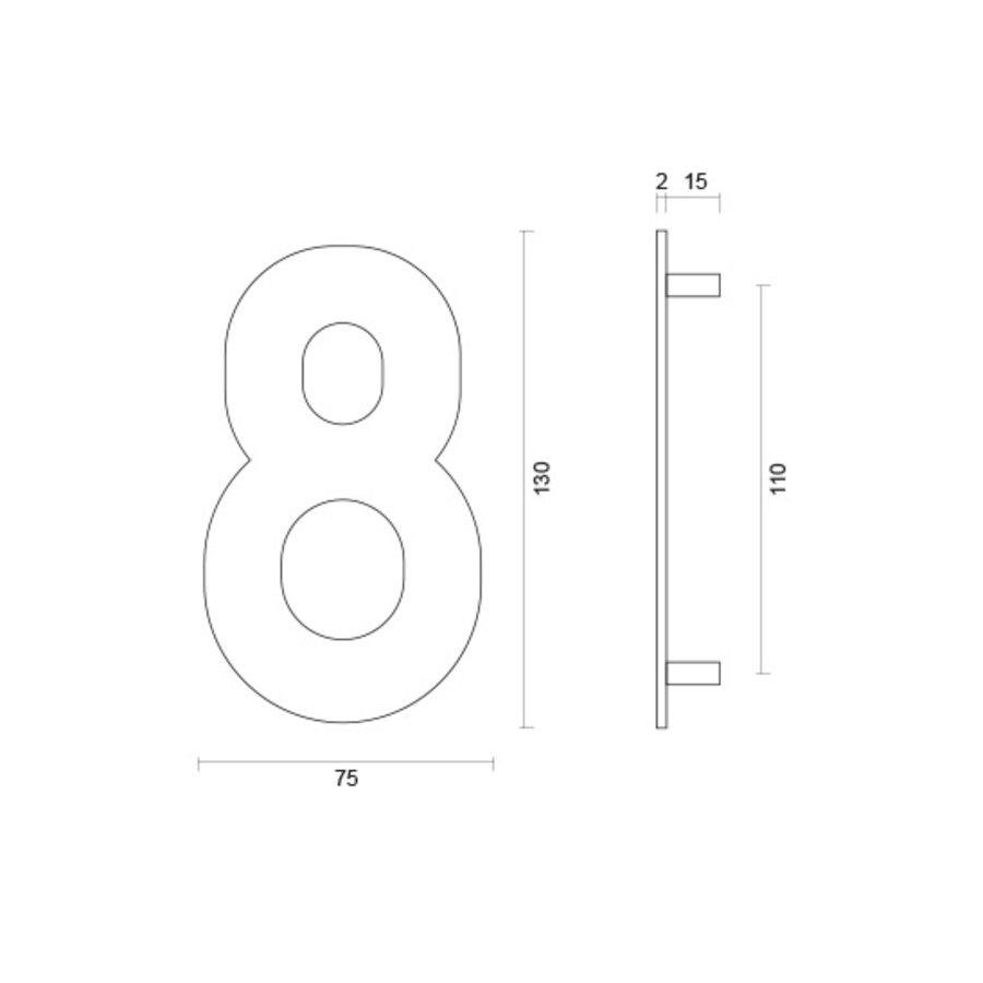 Huisnummer 8 rvs plat 130mm